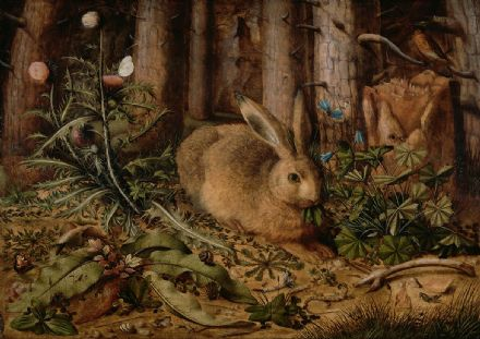 Hofmann, Hans: A Hare in the Forest. Fine Art Print/Poster. Sizes: A4/A3/A2/A1 (004019)